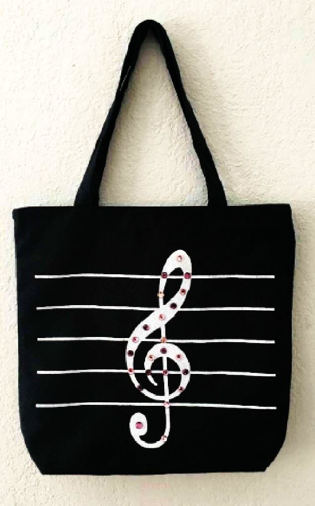 """Measurements: 13.75 H x14.50 W, gusset 3.50"""", and 18"""" handles, and waterproof liningand . Great bag at  % percent cotton canvas. Use for school, carrying music and other musical items, groceries, and more then we can think of."""
