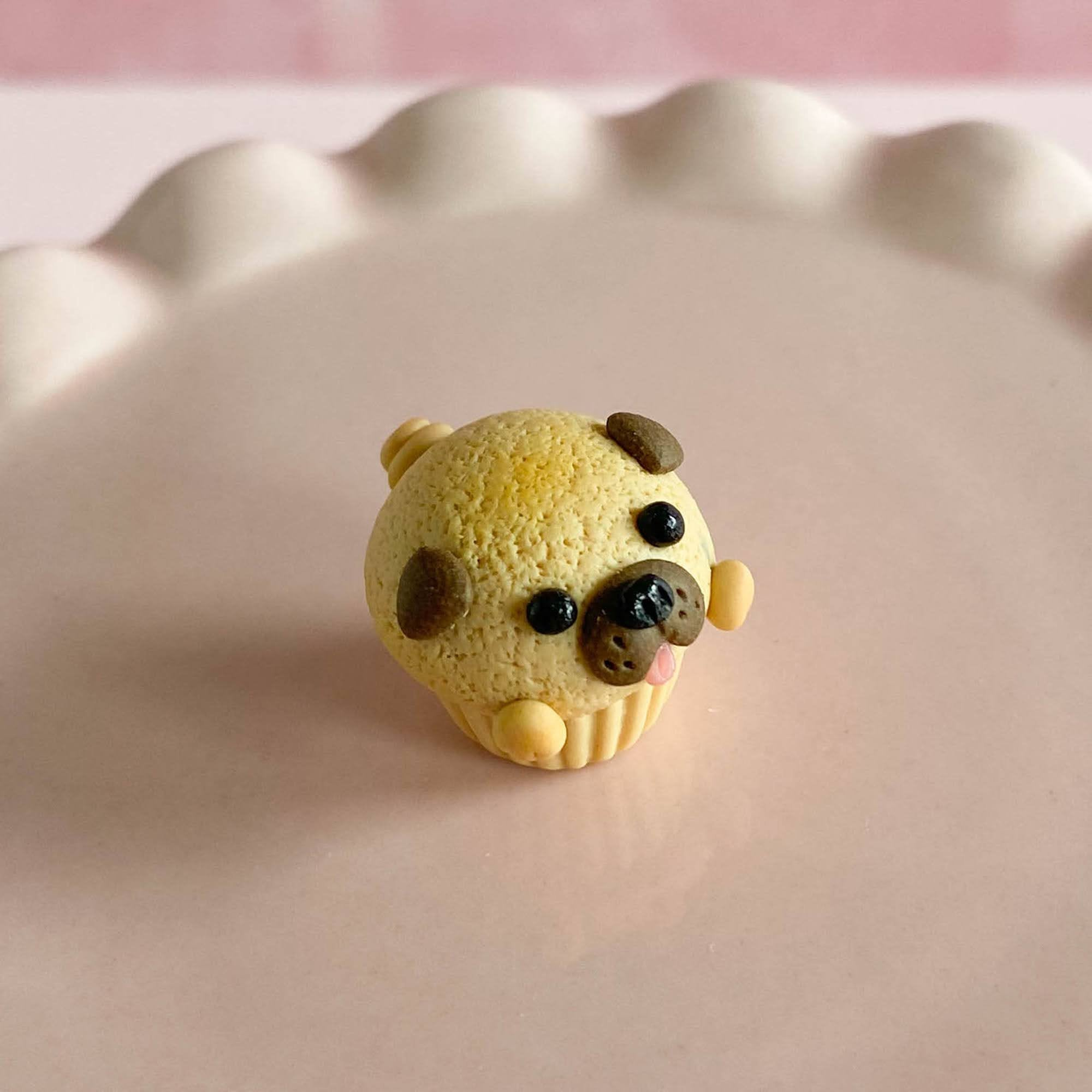 fireflyFrippery Miniature Pug Cupcake on Pink Display Stand