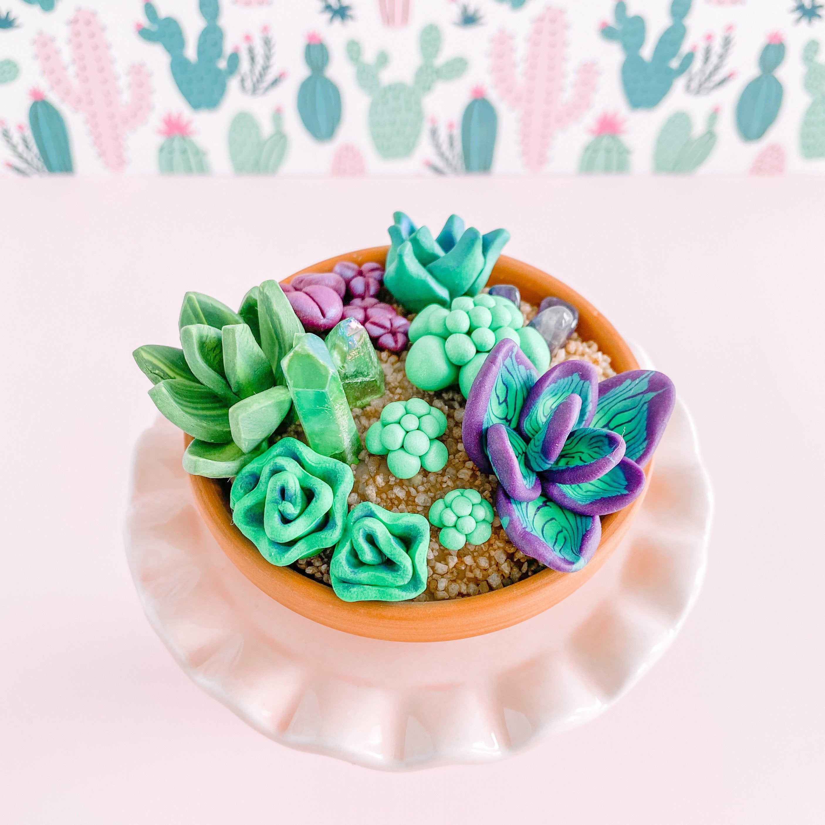 fireflyFrippery Miniature Faux Succulent and Crystal Garden on Pink Display Stand