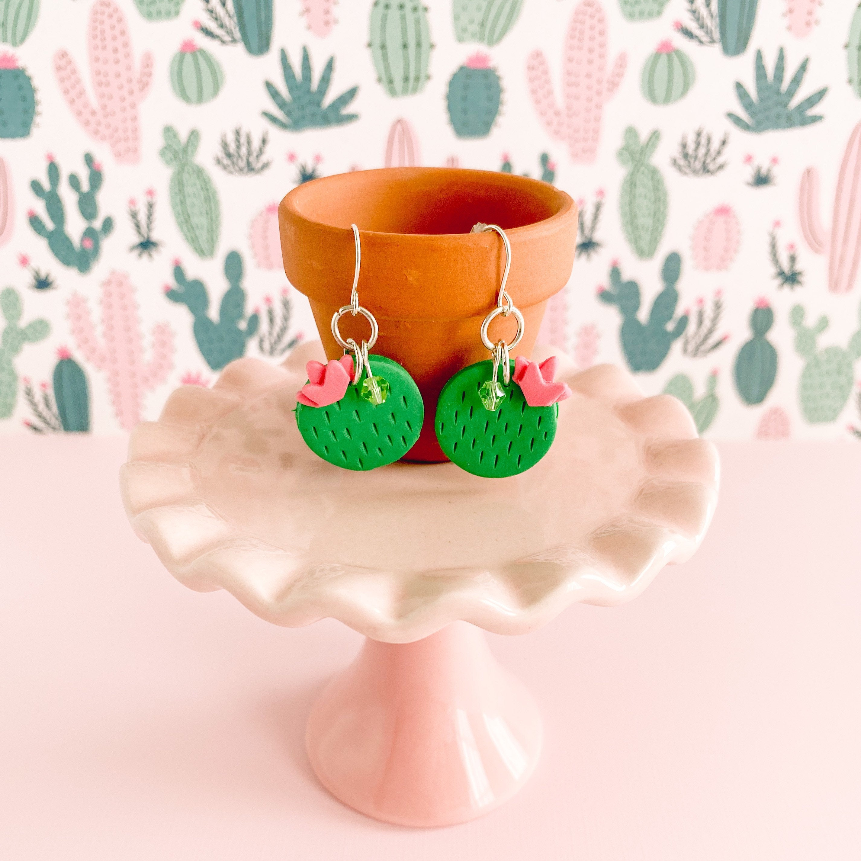 fireflyFrippery Cute Chic Cactus Earrings Hanging from Miniature Terra Cotta Pot
