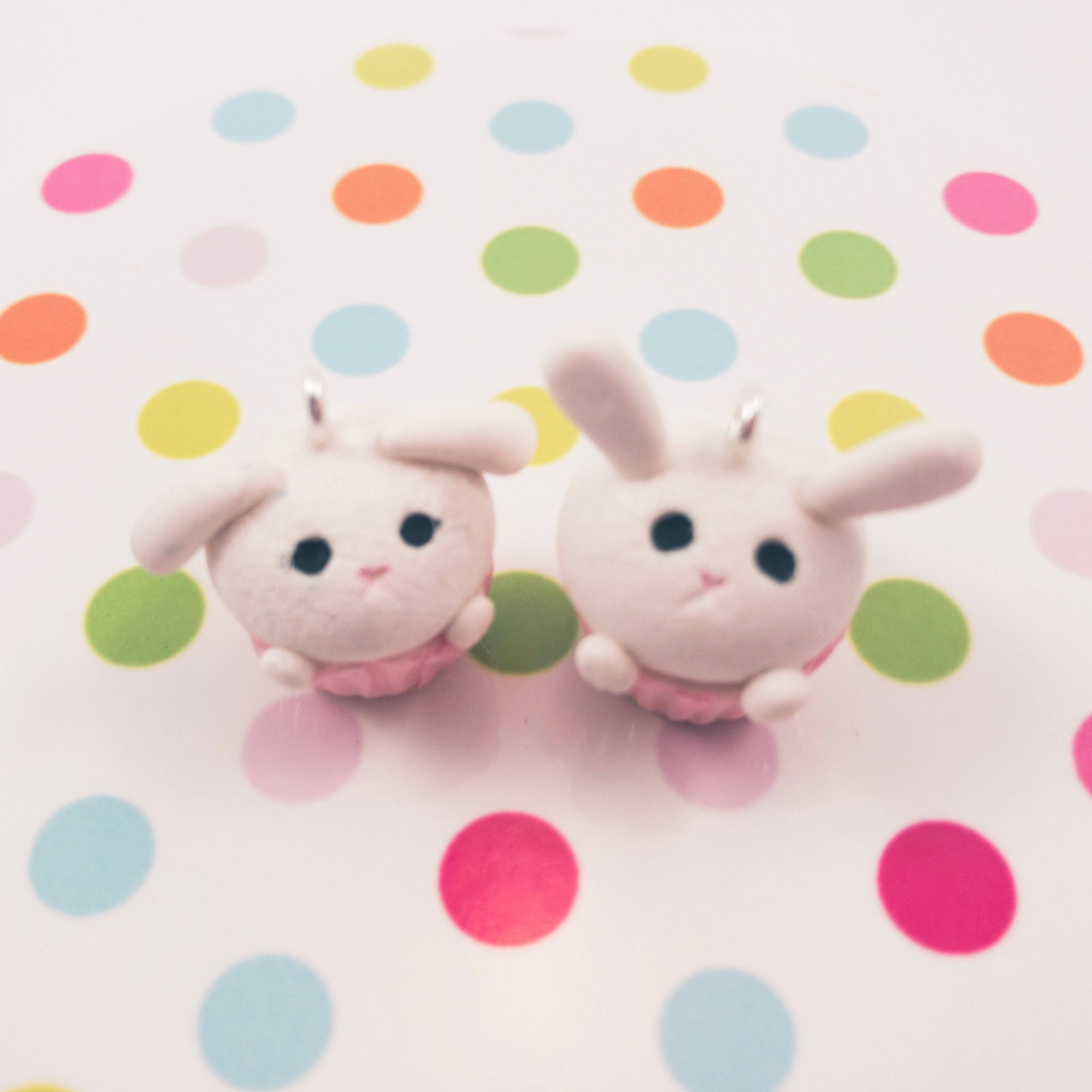 fireflyFrippery Bunny Cupcake Charm or Sculpture on Polka Dot Background