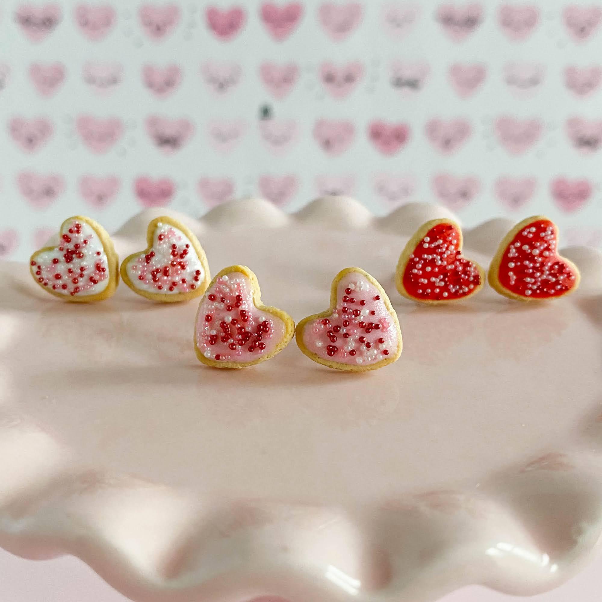 fireflyFrippery Heart Sugar Cookie Earrings on Pink Display