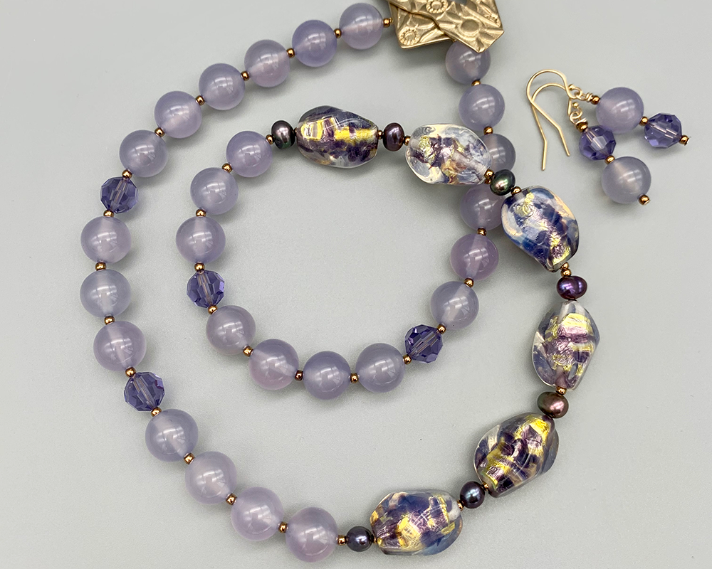 Necklace set | 1950s Japanese opalescent amethyst gold foil glass nuggets, chalcedony, crystal, freshwater pearls