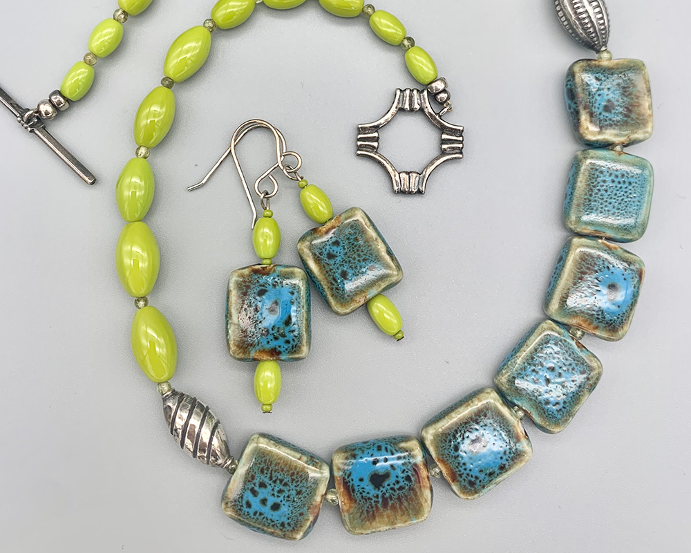 Necklace set | Graduated strand pf vintage chartreuse glass beads, blue-green ceramic tiles, Bali and sterling silver