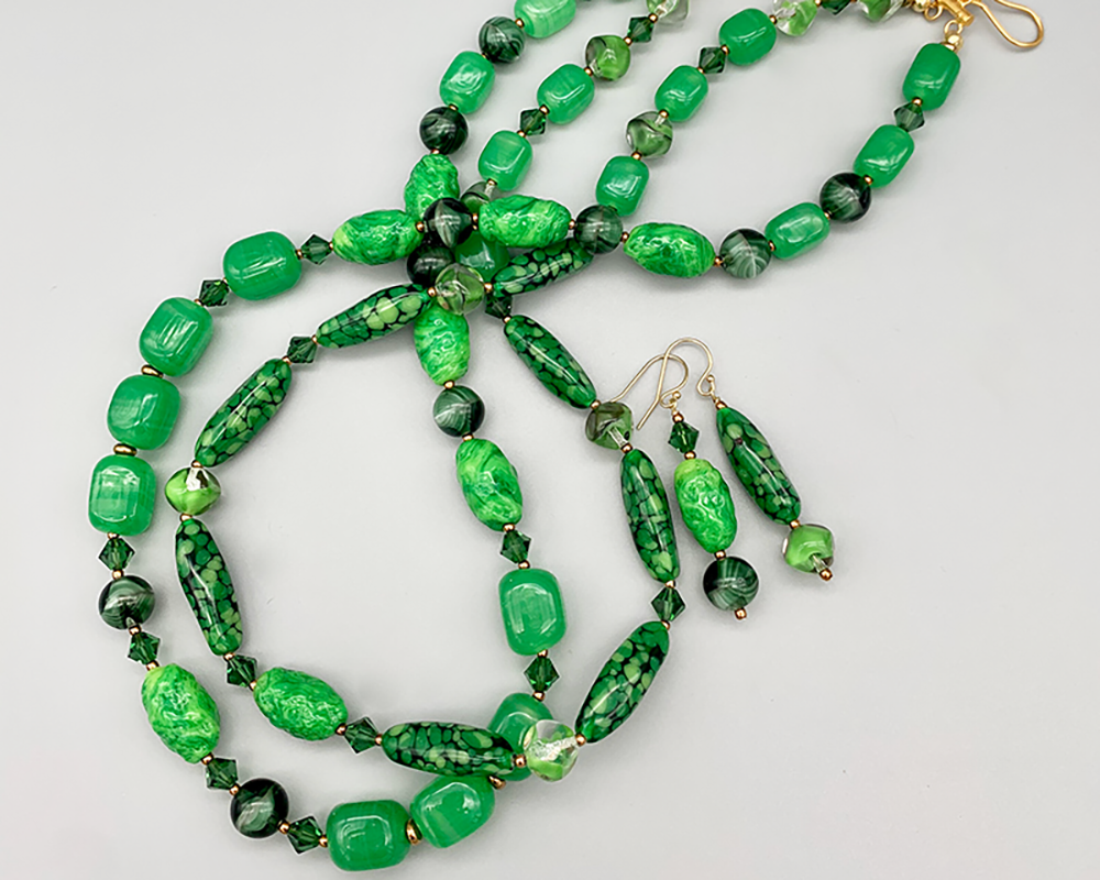 Necklace set   Double strand of vintage green glass beads and crystals — grass green, forest green, jade, emerald