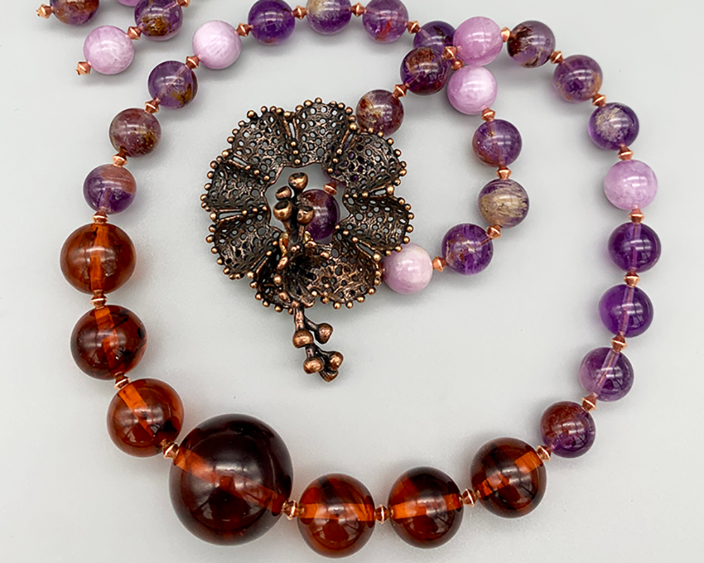 Necklace set | Dark amber/dark molasses Bakelite rounds, Kunzite stones, Super Seven stones, artisan lost-wax bronze clasp