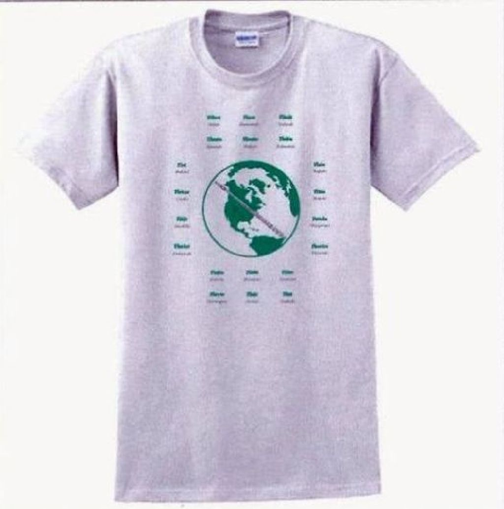 Flute Around The World  Tee Shirt 50/50 poly-cotton athletic gray tee.  Unisex in sizes from medium to x-large.  Educational in the aspect of FLUTE spelled in 20 different languages.