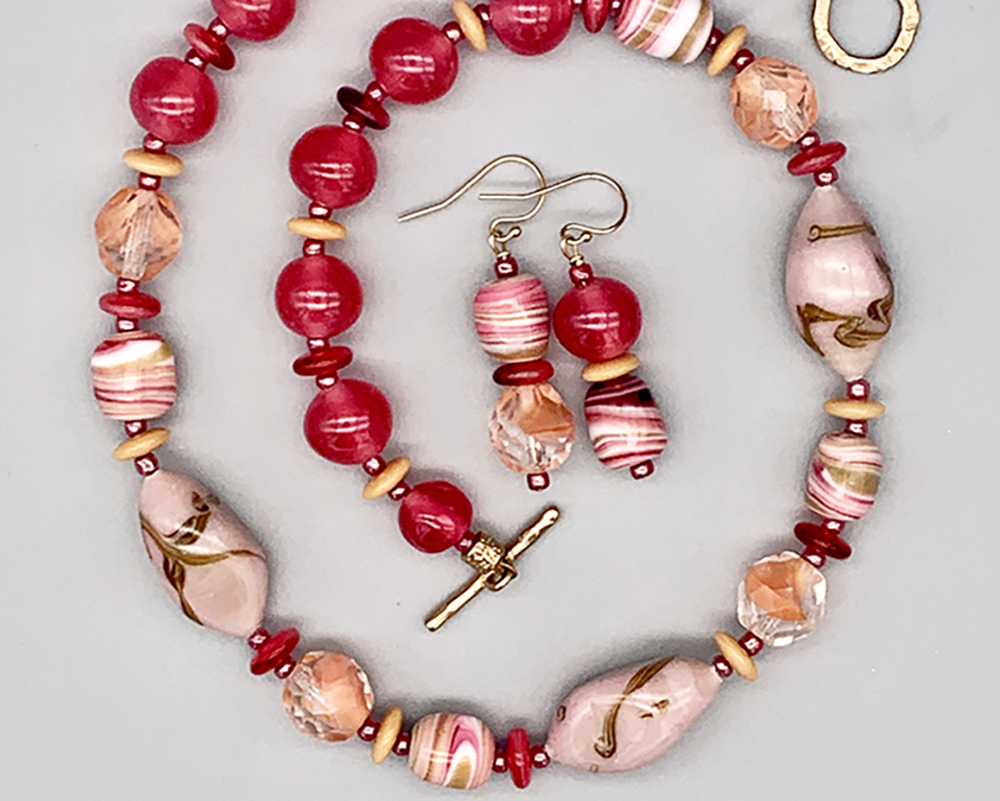 Necklace set | Vintage pink, peach, rose, beige glass beads — Japanese Cherry Brand, Czech givre, Venetian seed beads