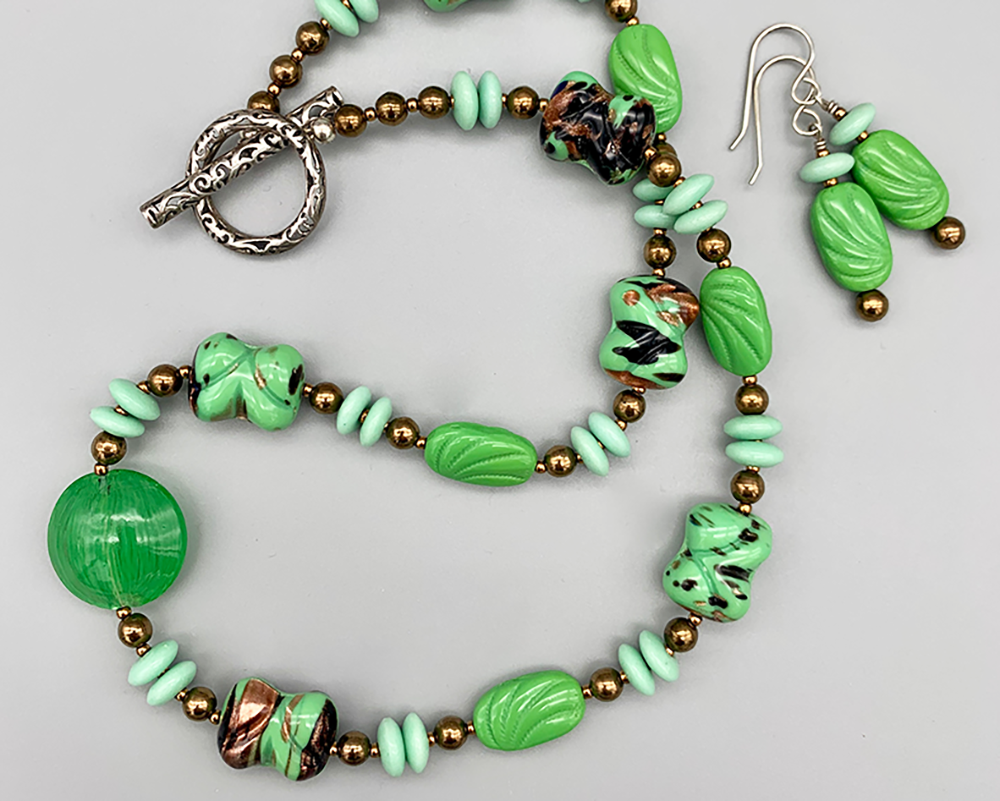 Necklace set | vintage green glass beads with bronze and aventurina accents