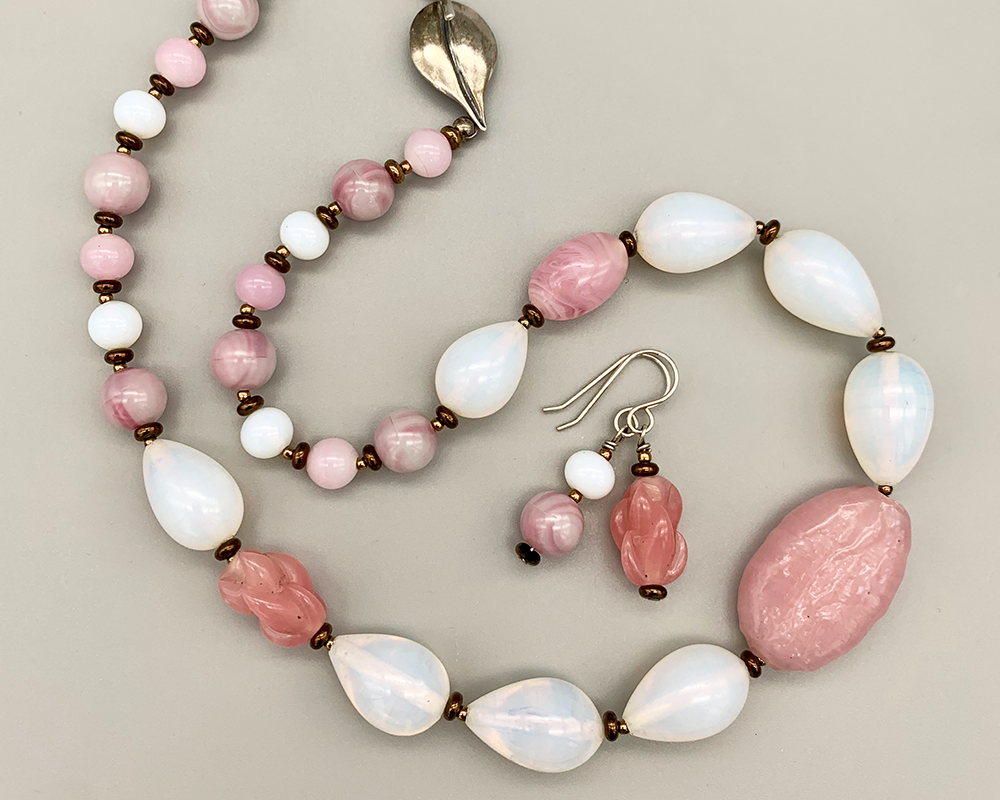 Necklace set   Pink and opalescent whites vintage and antique Japanese glass beads, Miriam Haskell focal