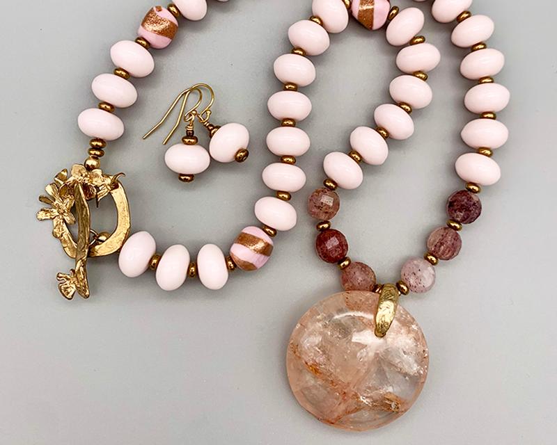 Necklace set | Hematoid quartz pendant disk, vintage glass pale pink rondelles, strawberry quartz faceted rounds