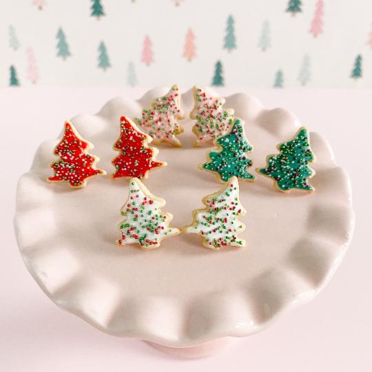 fireflyFrippery Miniature Christmas Tree Cookie Earrings on Display