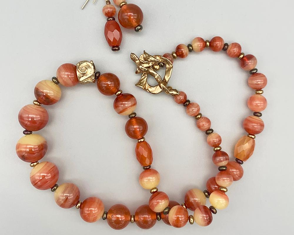 Necklace set   Antique/vintage Bohemian/Czech faux-carnelian glass rounds, carnelian stone faceted ovals