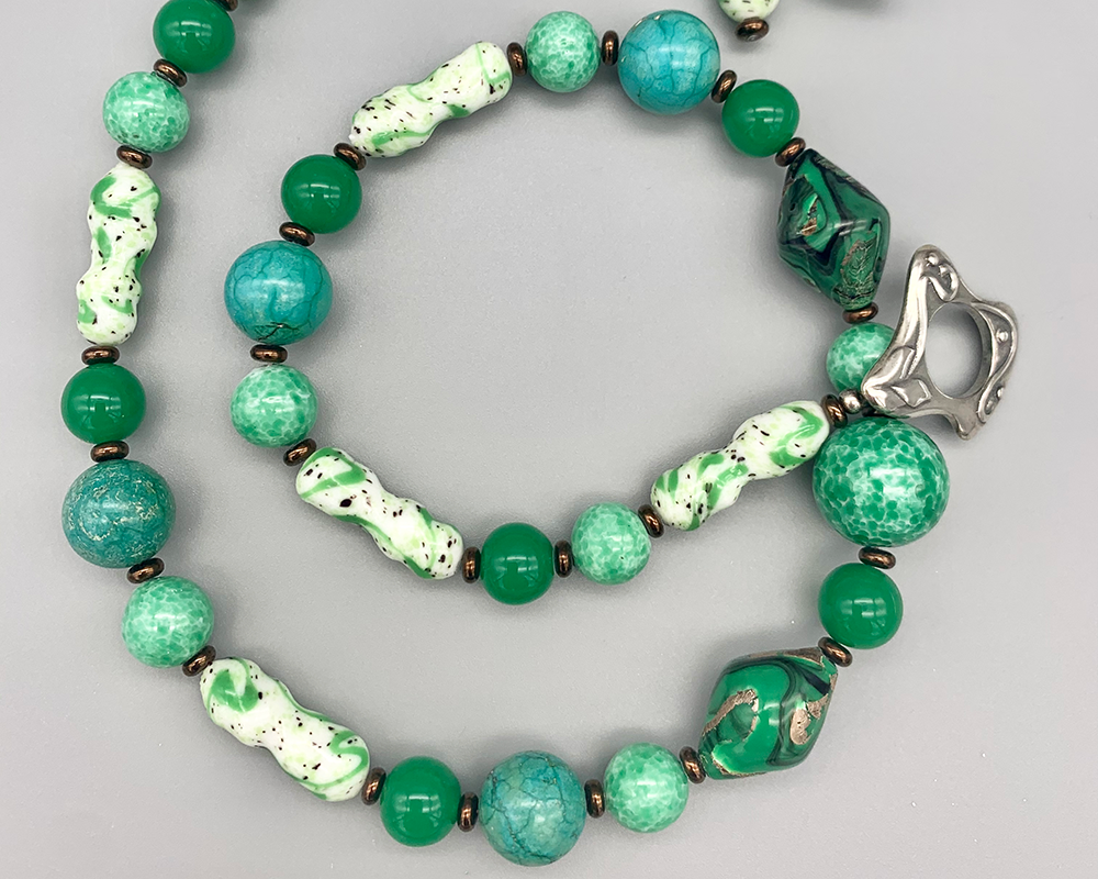Necklace set   Vintage Czech and Japanese green/white/black glass beads