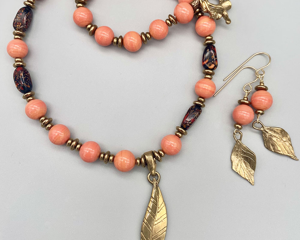 Necklace set   Coral and bronze palette — Vintage Cherry Brand rounds, Italian lampwork beads, artisan bronze leaf pendant, clasp and findings