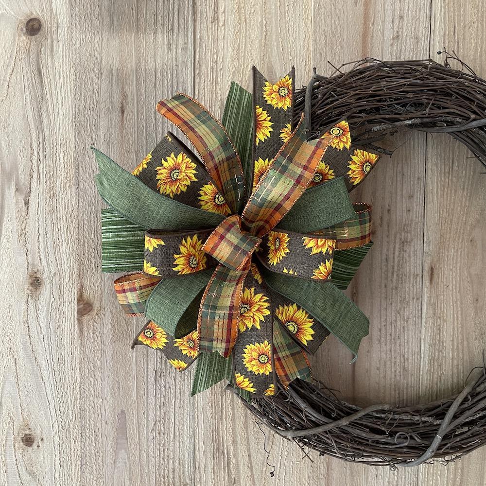 Fall sunflower wreath bow