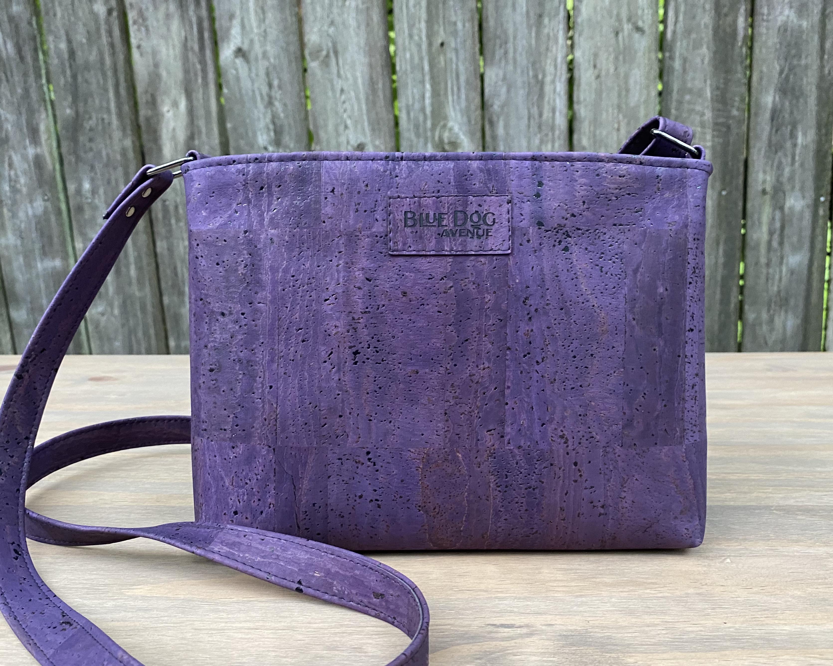 Custom Designed Purple Cork Leather Everyday Purse by Blue Dog Avenue
