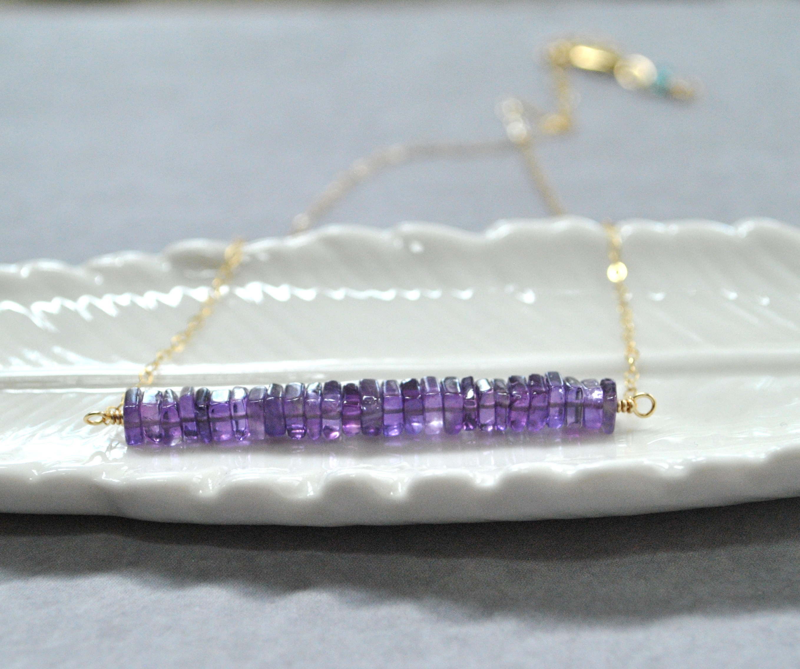 Amethyst Bar Necklace Silver or Gold